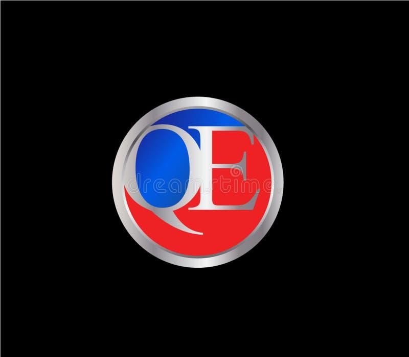 Forma inicial Logo Design posterior color plata azul rojo del círculo de QE ilustración del vector