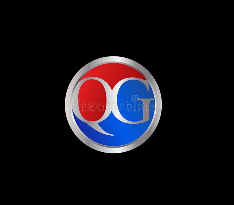 Forma inicial Logo Design posterior color plata azul rojo del círculo de QG ilustración del vector