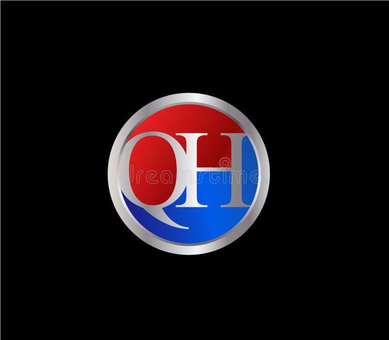 Forma inicial Logo Design posterior color plata azul rojo del círculo de QH ilustración del vector
