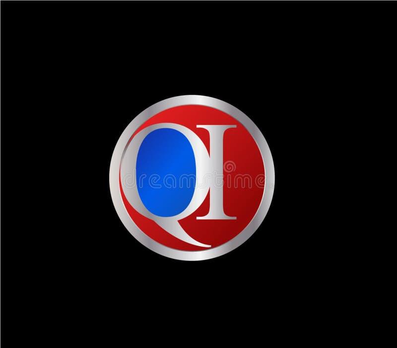 Forma inicial Logo Design posterior color plata azul rojo del c?rculo de QI stock de ilustración