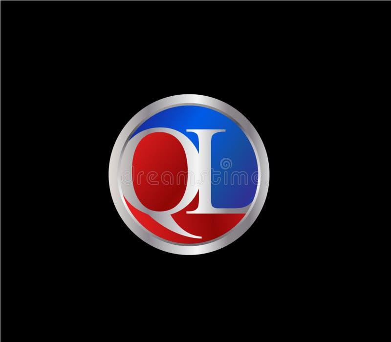 Forma inicial Logo Design posterior color plata azul rojo del c?rculo de QL stock de ilustración