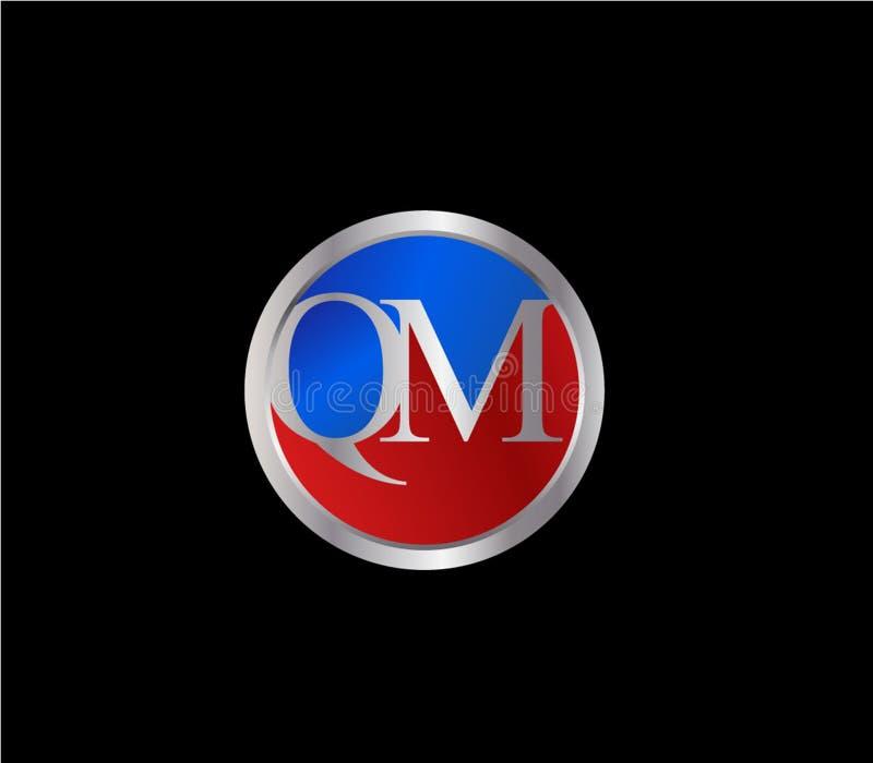 Forma inicial Logo Design posterior color plata azul rojo del c?rculo de QM libre illustration