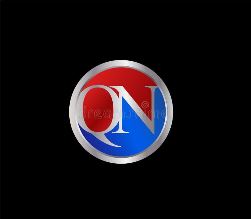 Forma inicial Logo Design posterior color plata azul rojo del círculo de QN ilustración del vector
