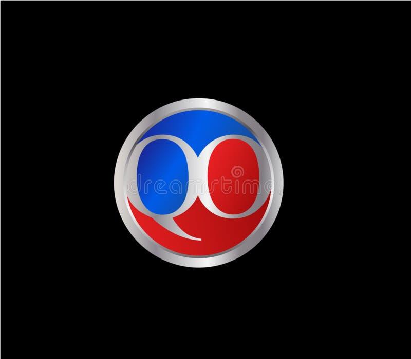 Forma inicial Logo Design posterior color plata azul rojo del círculo de QO stock de ilustración