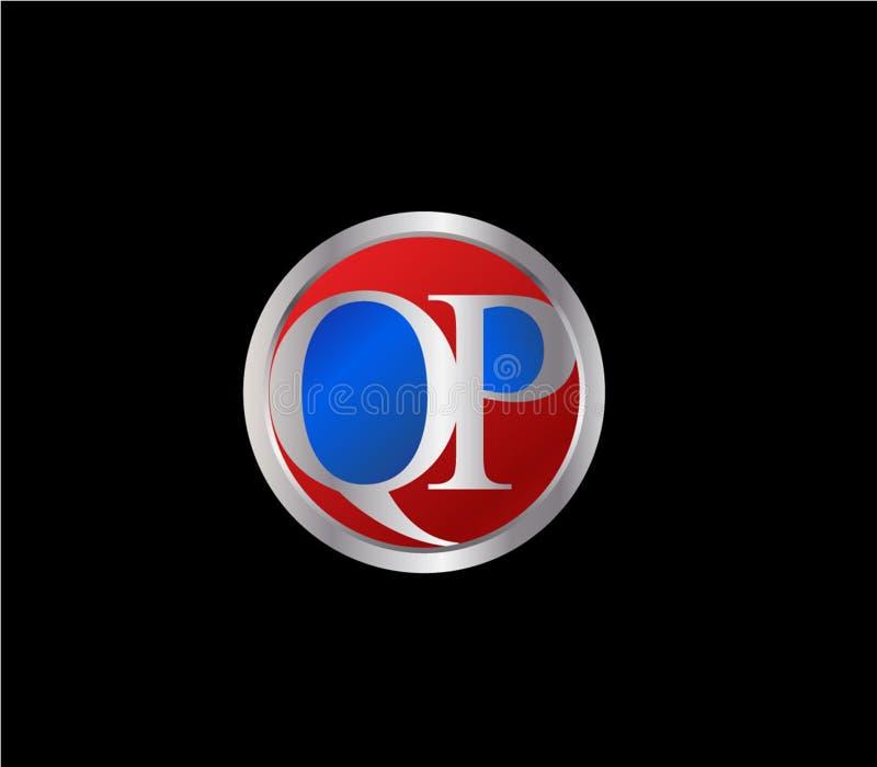 Forma inicial Logo Design posterior color plata azul rojo del círculo de QP libre illustration