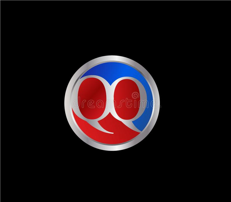 Forma inicial Logo Design posterior color plata azul rojo del c?rculo de QQ libre illustration