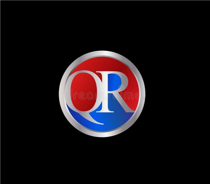 Forma inicial Logo Design posterior color plata azul rojo del círculo de QR ilustración del vector