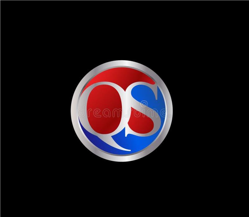 Forma inicial Logo Design posterior color plata azul rojo del círculo de QS ilustración del vector