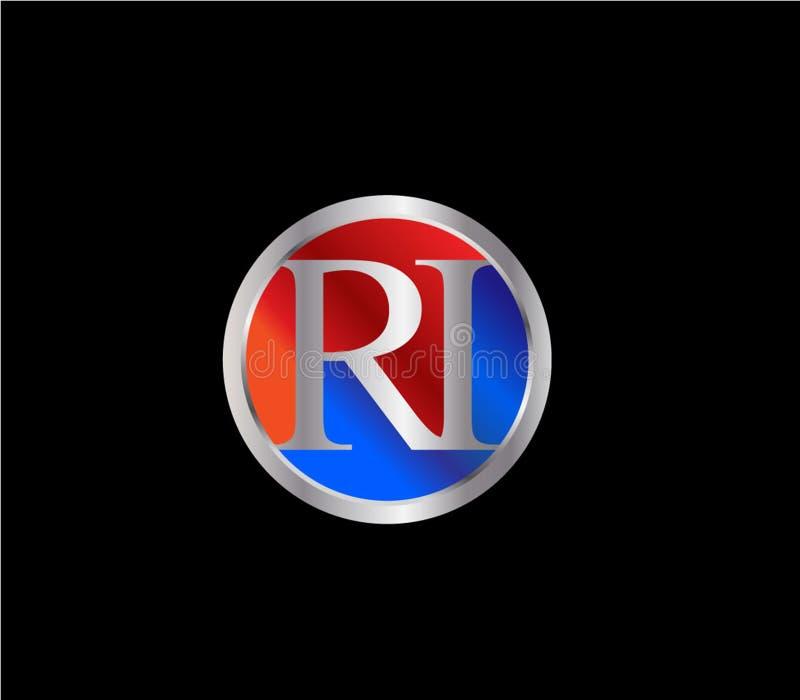 Forma inicial Logo Design posterior color plata azul rojo del círculo de RI stock de ilustración