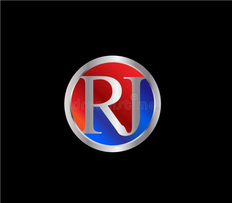 Forma inicial Logo Design posterior color plata azul rojo del círculo de RJ ilustración del vector