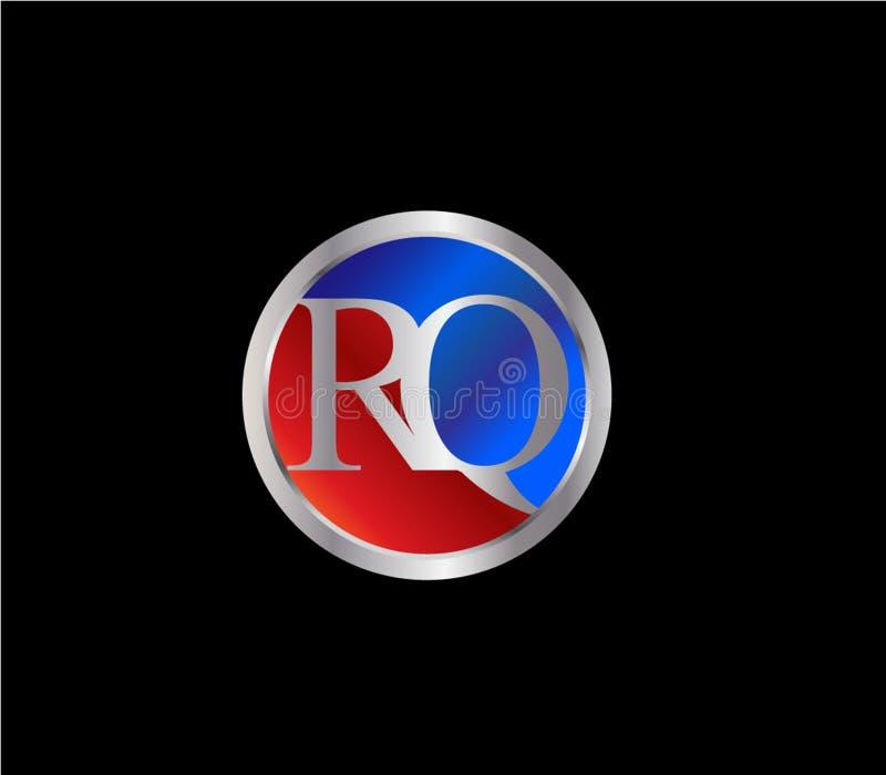 Forma inicial Logo Design posterior color plata azul rojo del círculo de RQ stock de ilustración