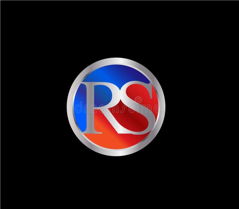 Forma inicial Logo Design posterior color plata azul rojo del círculo de RS ilustración del vector