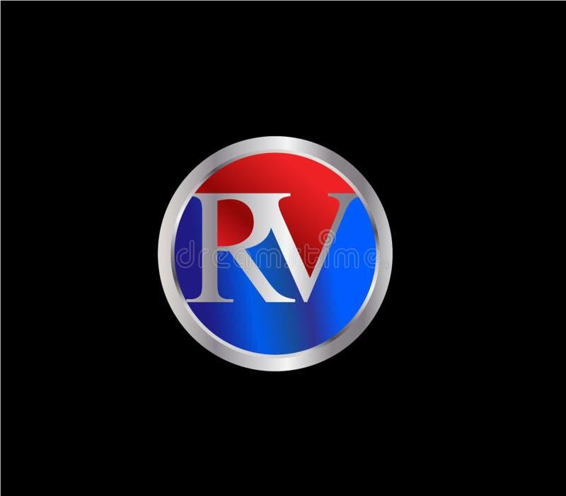 Forma inicial Logo Design posterior color plata azul rojo del círculo de rv stock de ilustración