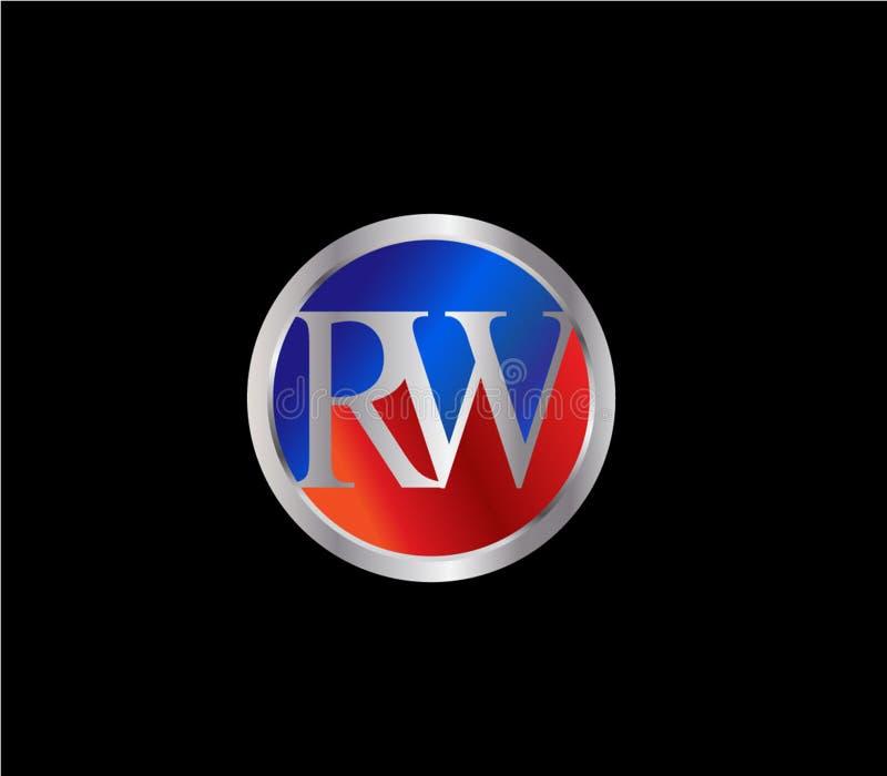Forma inicial Logo Design posterior color plata azul rojo del círculo de RW ilustración del vector