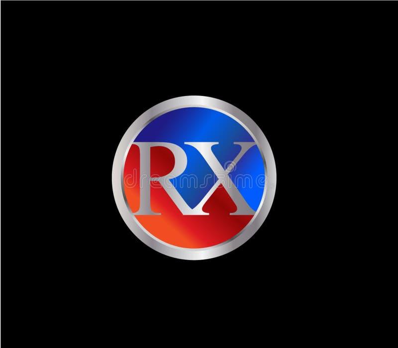Forma inicial Logo Design posterior color plata azul rojo del círculo de RX ilustración del vector