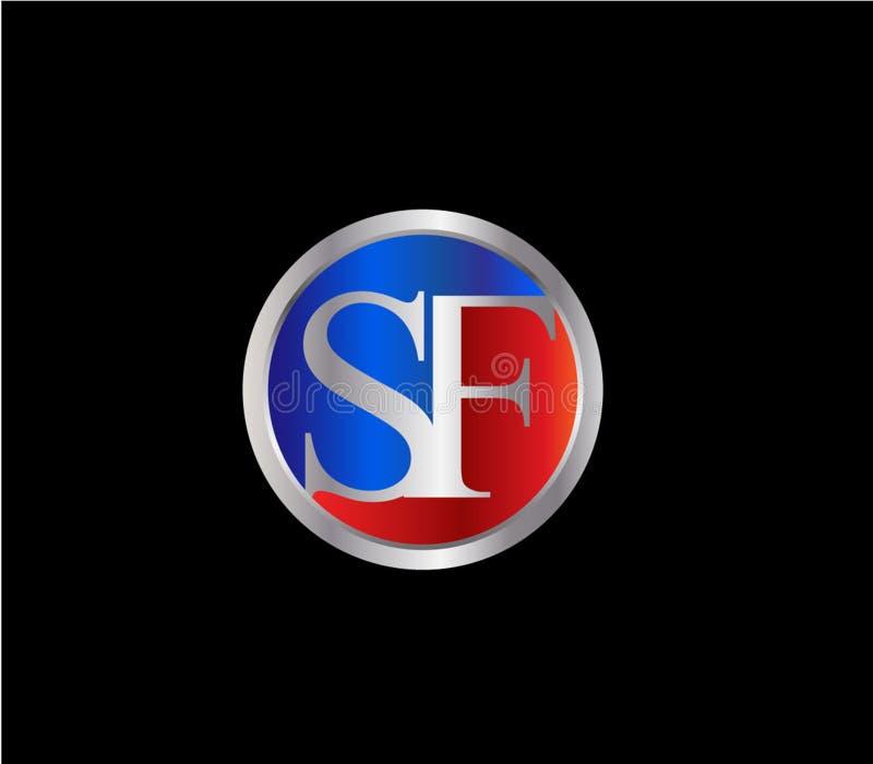 Forma inicial Logo Design posterior color plata azul rojo del c?rculo de SF libre illustration
