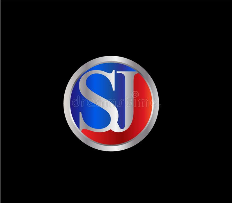 Forma inicial Logo Design posterior color plata azul rojo del c?rculo de SJ libre illustration