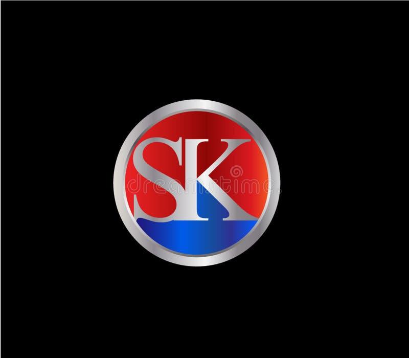 Forma inicial Logo Design posterior color plata azul rojo del círculo de SK ilustración del vector