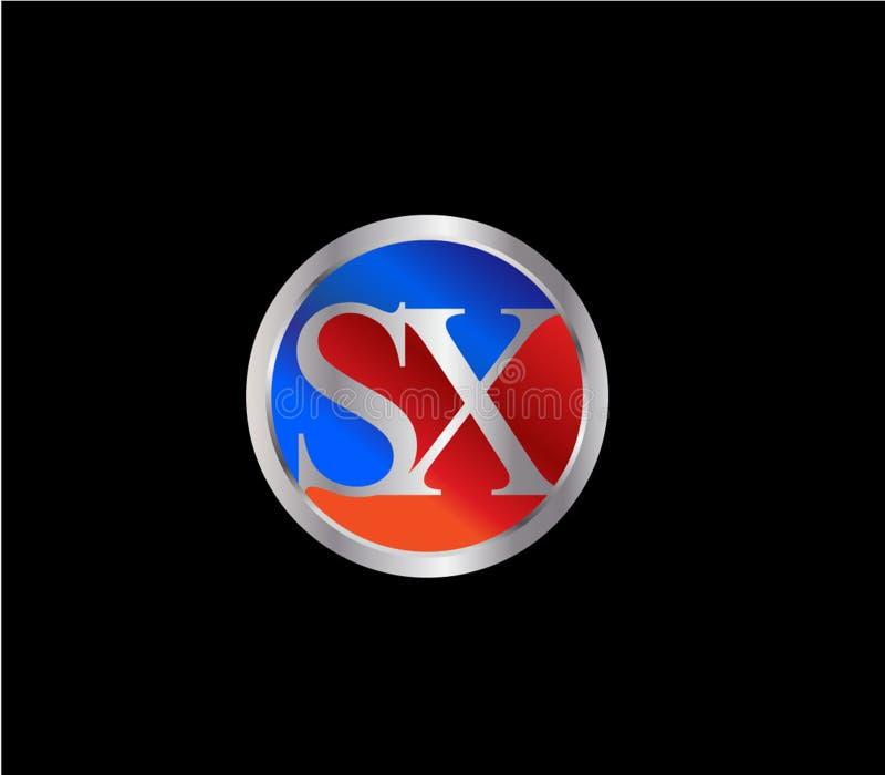 Forma inicial Logo Design posterior color plata azul rojo del c?rculo de SX stock de ilustración
