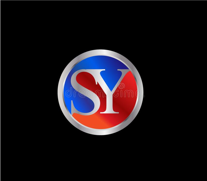 Forma inicial Logo Design posterior color plata azul rojo del círculo de SY libre illustration