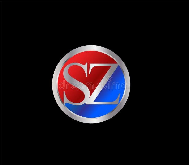 Forma inicial Logo Design posterior color plata azul rojo del c?rculo de SZ stock de ilustración