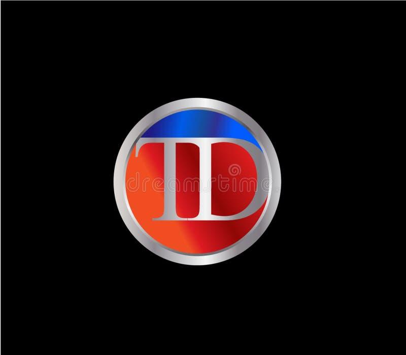 Forma inicial Logo Design posterior color plata azul rojo del círculo de TD ilustración del vector