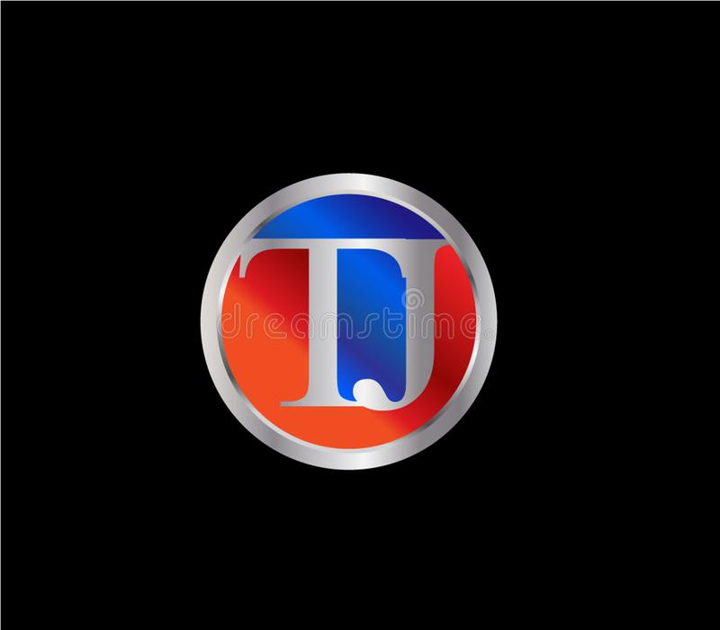 Forma inicial Logo Design posterior color plata azul rojo del círculo de TJ stock de ilustración
