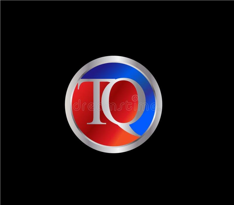 Forma inicial Logo Design posterior color plata azul rojo del círculo de TQ libre illustration