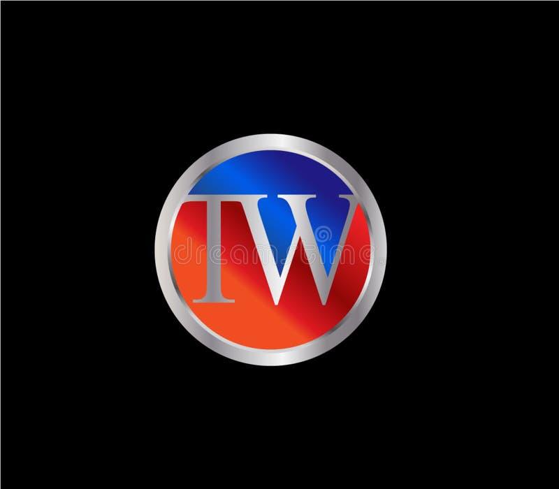 Forma inicial Logo Design posterior color plata azul rojo del círculo de TW stock de ilustración