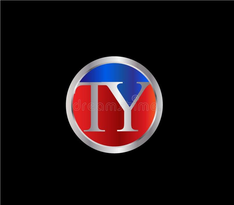 Forma inicial Logo Design posterior color plata azul rojo del círculo de TY stock de ilustración
