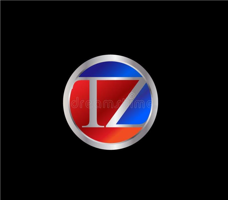 Forma inicial Logo Design posterior color plata azul rojo del círculo de TZ ilustración del vector