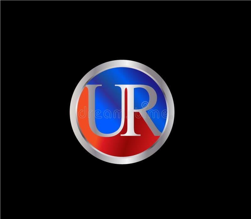 Forma inicial Logo Design posterior color plata azul rojo del círculo de UR libre illustration