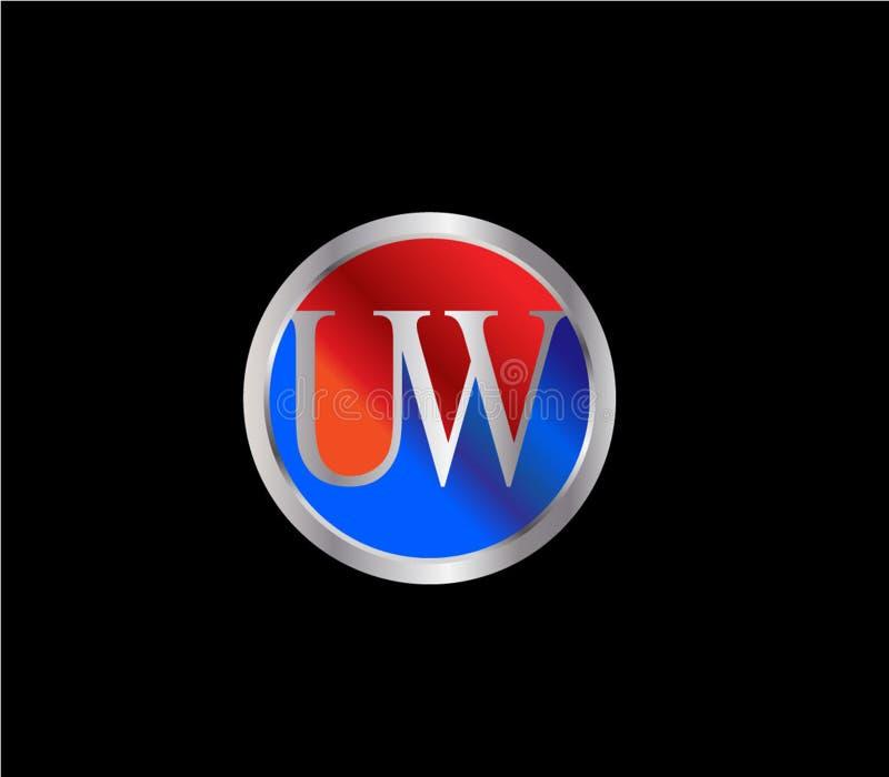Forma inicial Logo Design posterior color plata azul rojo del c?rculo de UW libre illustration