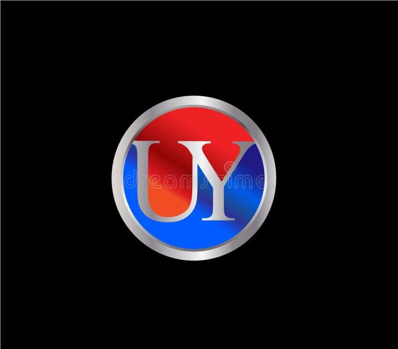 Forma inicial Logo Design posterior color plata azul rojo del c?rculo de UY ilustración del vector