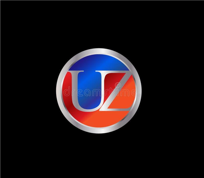 Forma inicial Logo Design posterior color plata azul rojo del c?rculo de UZ libre illustration