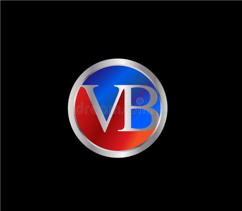 Forma inicial Logo Design posterior color plata azul rojo del círculo de VB stock de ilustración