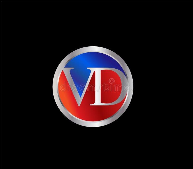 Forma inicial Logo Design posterior color plata azul rojo del círculo de VD stock de ilustración
