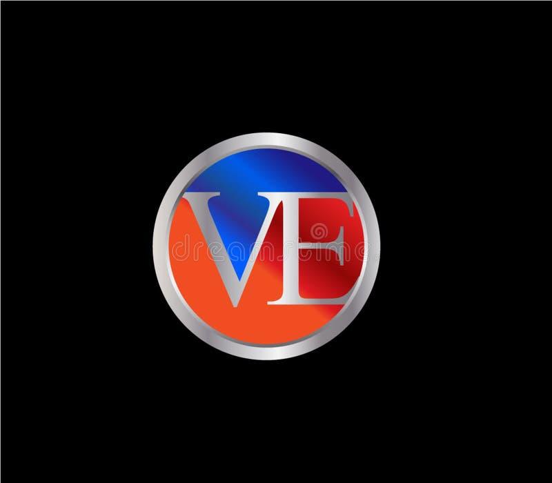Forma inicial Logo Design posterior color plata azul rojo del c?rculo de VE libre illustration