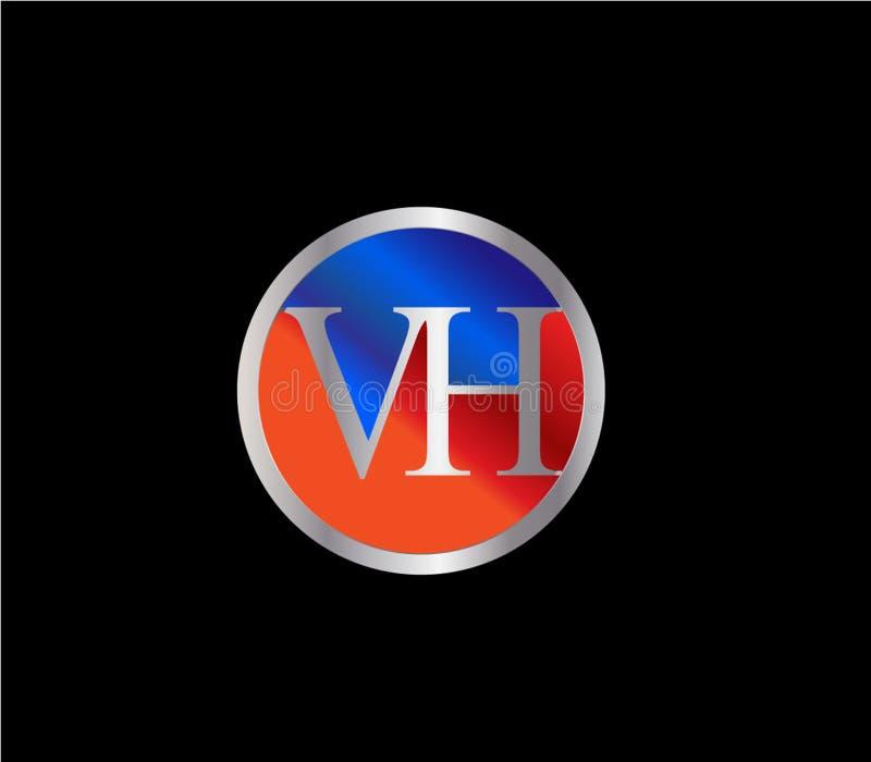Forma inicial Logo Design posterior color plata azul rojo del círculo de VH ilustración del vector