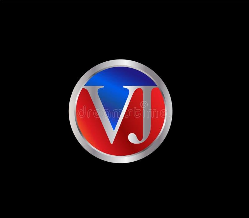 Forma inicial Logo Design posterior color plata azul rojo del círculo de VJ stock de ilustración