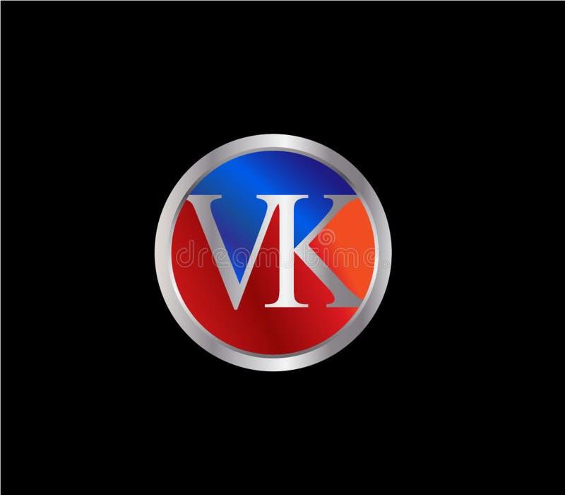 Forma inicial Logo Design posterior color plata azul rojo del círculo de VK libre illustration