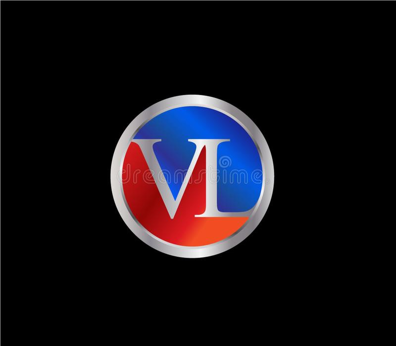 Forma inicial Logo Design posterior color plata azul rojo del c?rculo de VL ilustración del vector