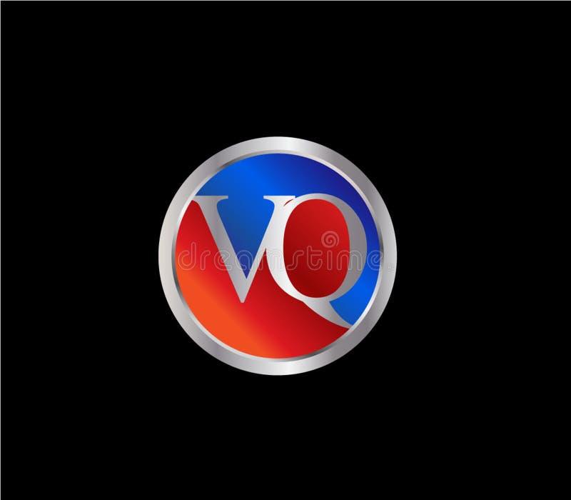 Forma inicial Logo Design posterior color plata azul rojo del círculo de VQ ilustración del vector