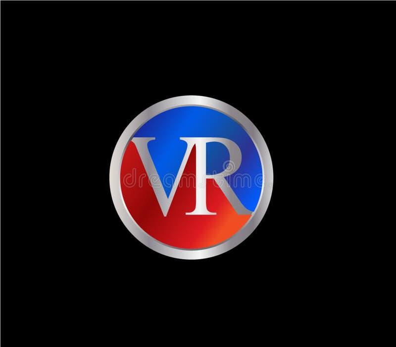Forma inicial Logo Design posterior color plata azul rojo del círculo de VR libre illustration