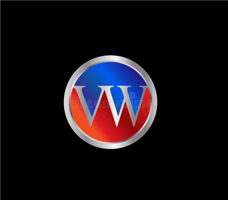 Forma inicial Logo Design posterior color plata azul rojo del círculo de VW libre illustration