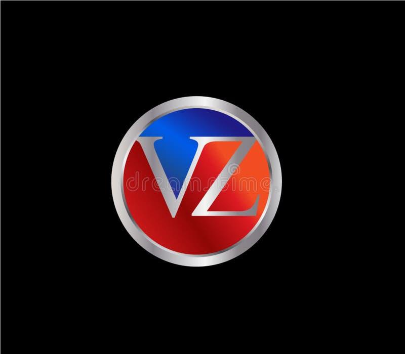Forma inicial Logo Design posterior color plata azul rojo del círculo de VZ libre illustration