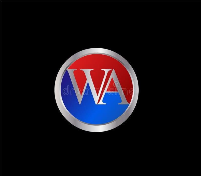 Forma inicial Logo Design posterior color plata azul rojo del c?rculo de WA libre illustration