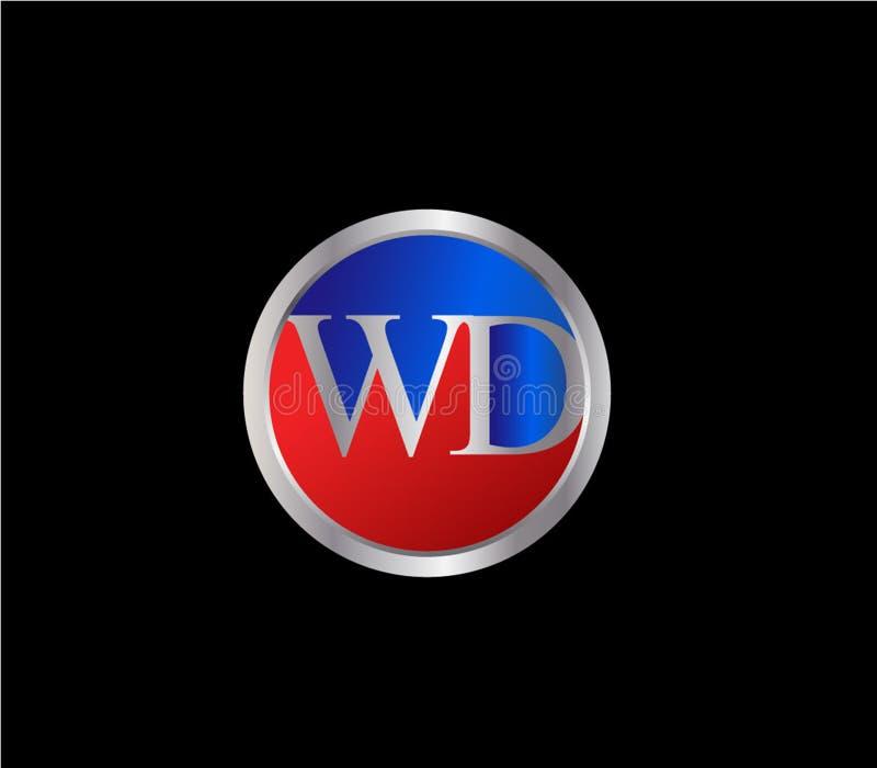 Forma inicial Logo Design posterior color plata azul rojo del círculo de WD ilustración del vector