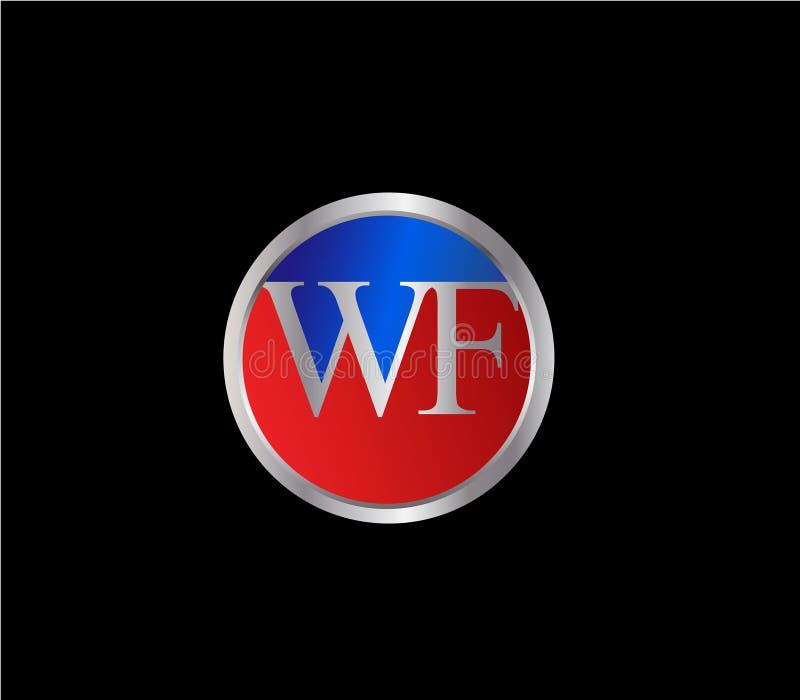 Forma inicial Logo Design posterior color plata azul rojo del c?rculo de WF ilustración del vector