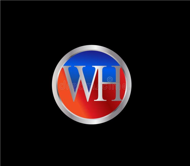 Forma inicial Logo Design posterior color plata azul rojo del círculo de WH libre illustration